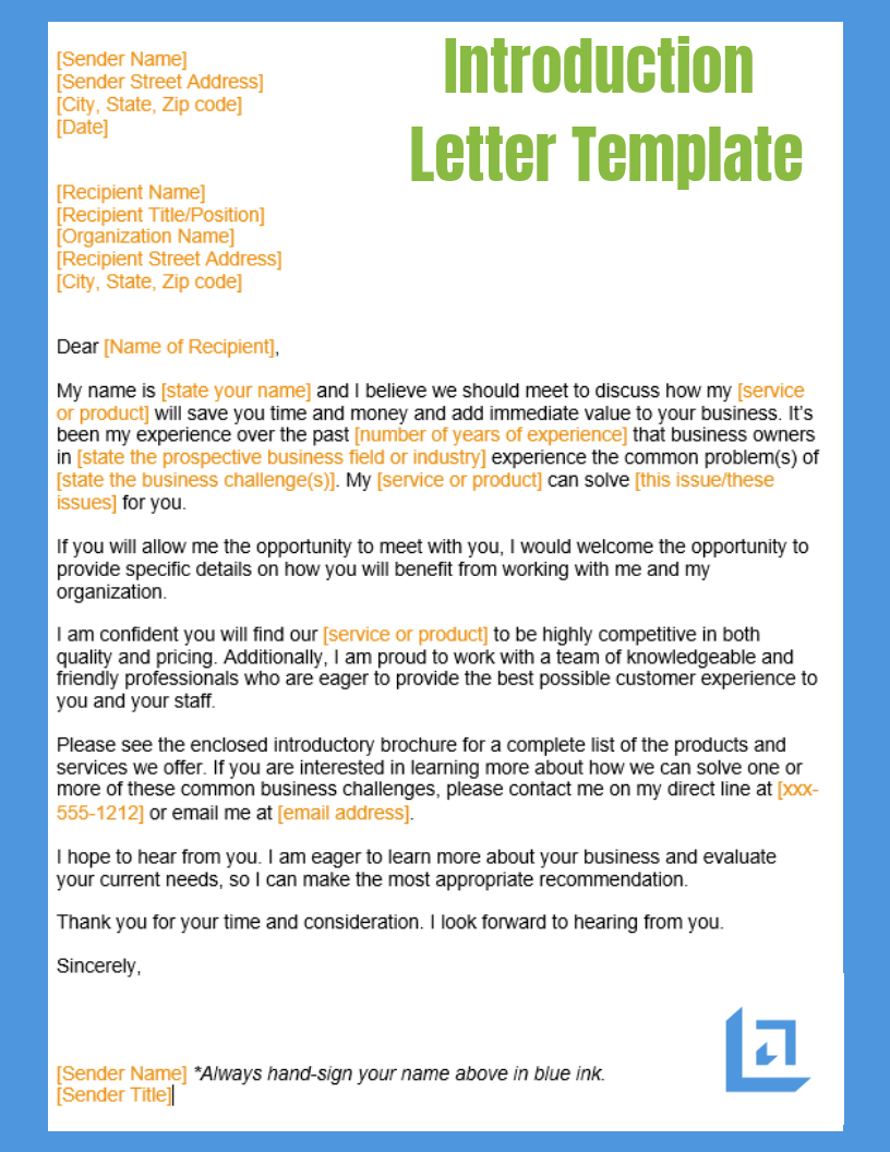 introduction letter template