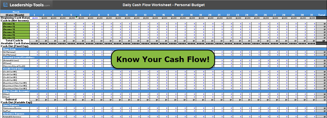 daily cash flow - Personal Budget Worksheet