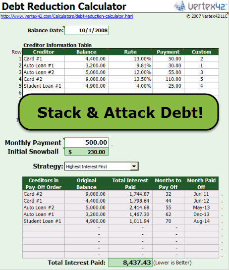 debt reduction calculator