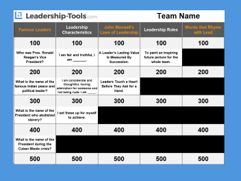 leadership jeopardy excel template