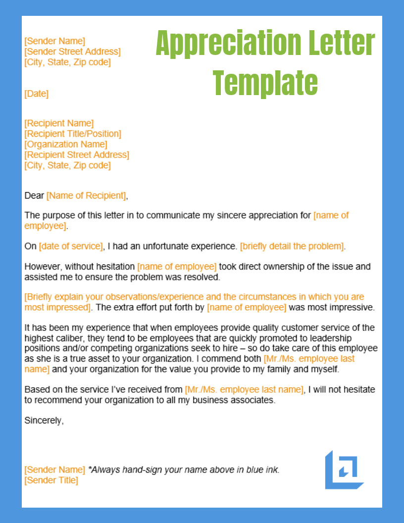 appreciation letter template