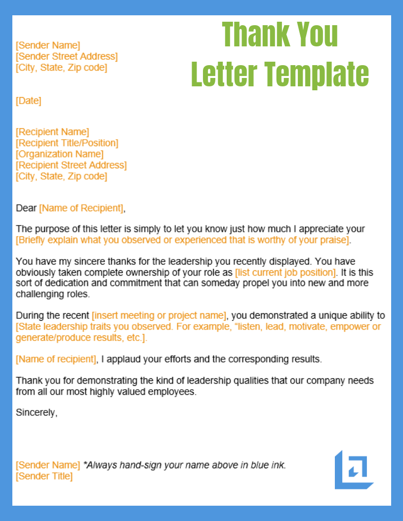 Template For Thank You Letter from www.leadership-tools.com