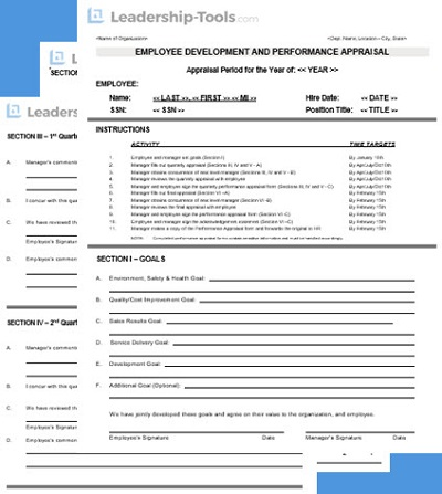 Sample Performance Appraisal Tool  Free Download